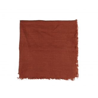 Linen Napkin With Frayed Edge - Rust
