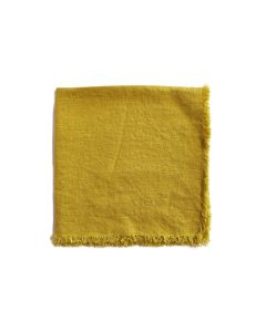 Linen Napkin With Frayed Edge - Chartreuse