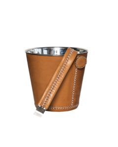 Natural Leather Ice Bucket With Tongs